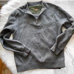 ORVIS men gray zip up gray sweater